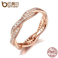 BAMOER Authentic 925 Sterling Silver Twist Of Fate Rose Clear CZ Finger Rings For Women Wedding