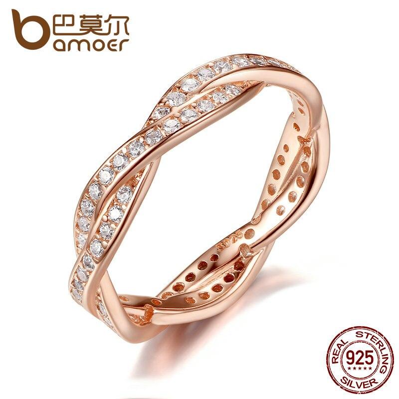 Prix pour BAMOER Authentique 925 Sterling Argent Twist De Sort Clair CZ Femmes Anneaux De Mariage Bijoux Cadeau D'anniversaire PA7187
