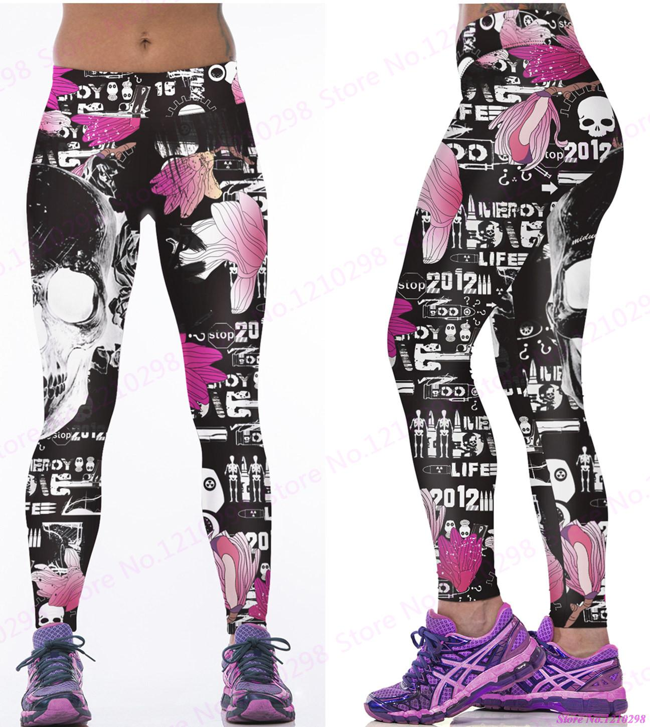 580ea3dae8032 Newest Pink Flowers Running Trousers Skull Leggings Gym Fitness Sports  Jogging Cross Skull Yoga Pants Women Tight 3D Print-in Yoga Pants from  Sports ...