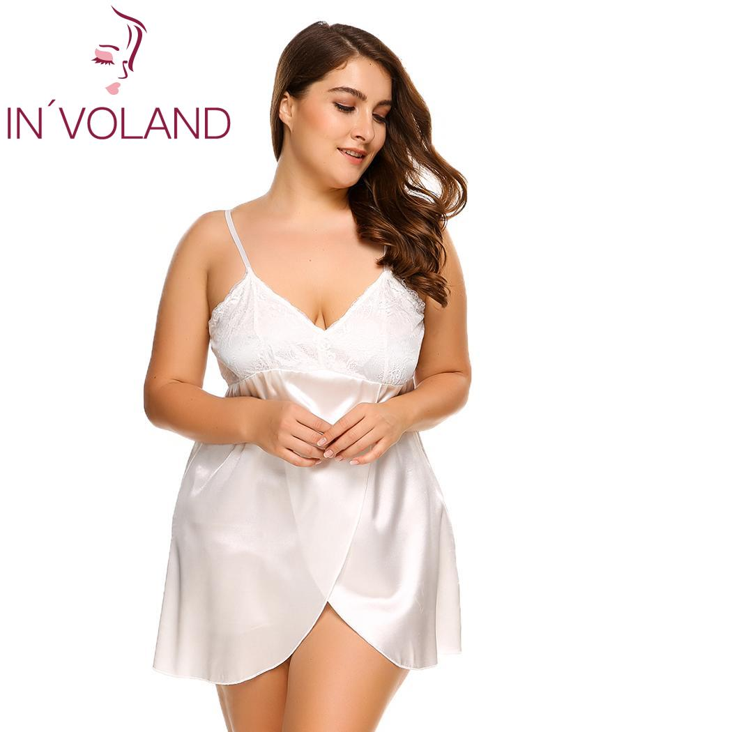 INVOLAND Plus Size Sleepwear Split Lace Satin Chemises Nightgown Solid Spaghetti Strap Home Dress Patchwork Nightwear L-4XL