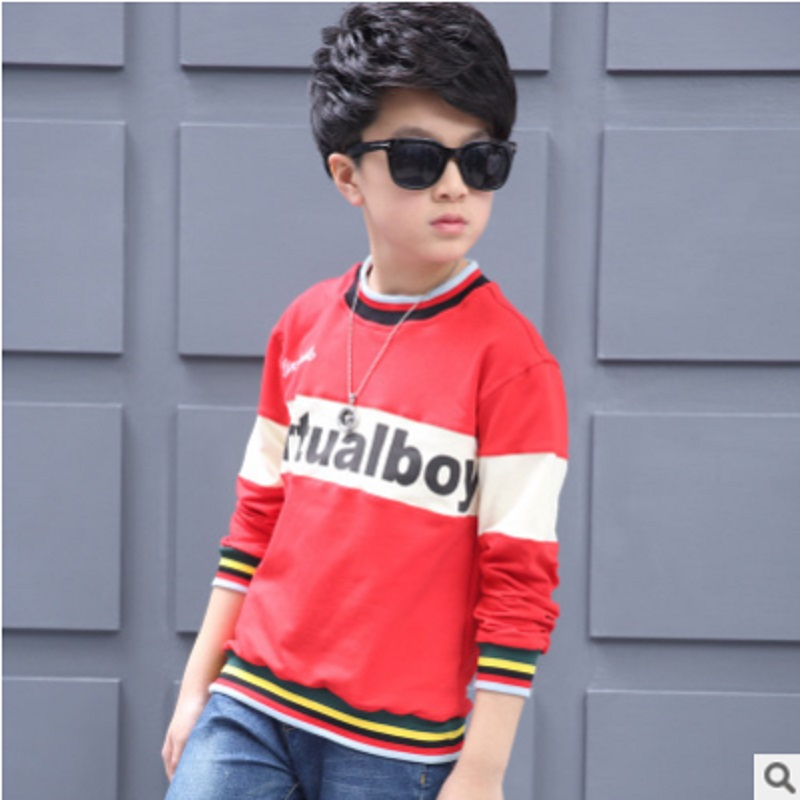 Boys clothing Hoody New 2018 Childrens Hoodies Boys T-shirt Long-sleeved Leisure Letter Beauty Shirt 3 Colors Size6-16 ly328