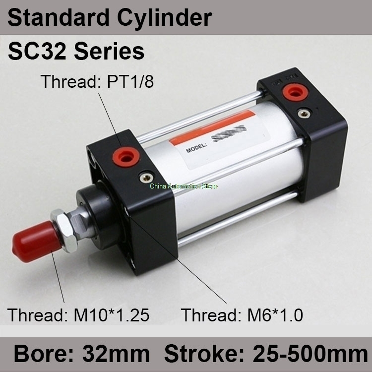 цена на SC32*350 Free shipping Standard air cylinders valve 32mm bore 350mm stroke SC32-350 single rod double acting pneumatic cylinder