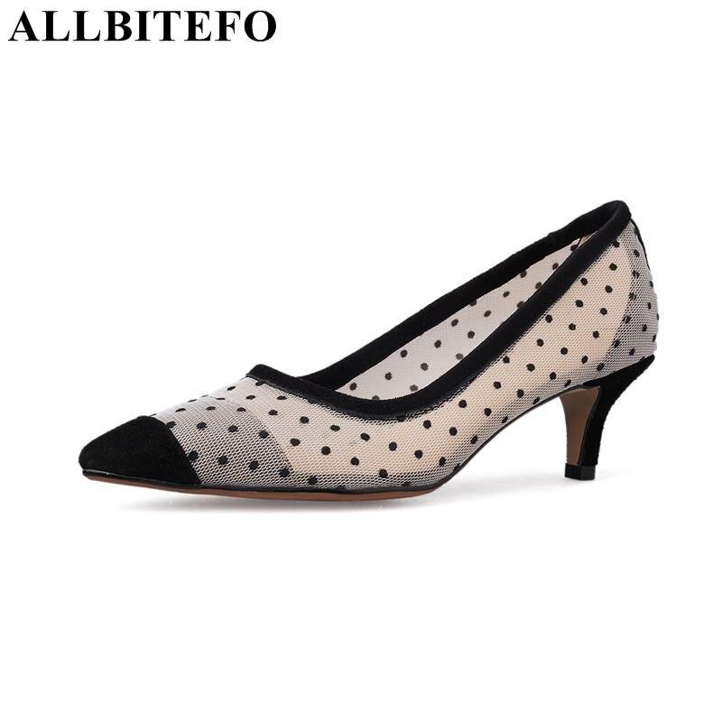 ALLBITEFO full genuine women round heel pointed toe shoes fashion brand high heel shoes spring ladies