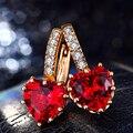 585 Chapado En Oro Ámbar Rojo Corazón de Cristal Brillantes Diamantes de la cz Del Aro pendientes para Mujeres Párr Lover Girl Clip de Oreja HHE014 bijouterie Regalo