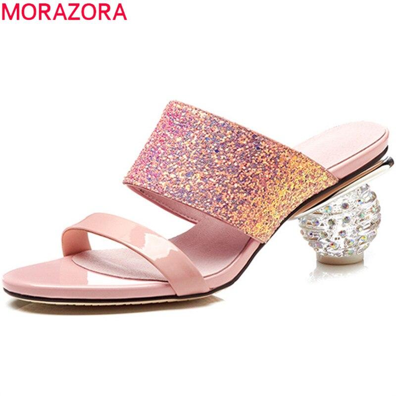 MORAZORA big size 33 42 summer new 2020 shoes woman classic prom mules shoes elegant pink
