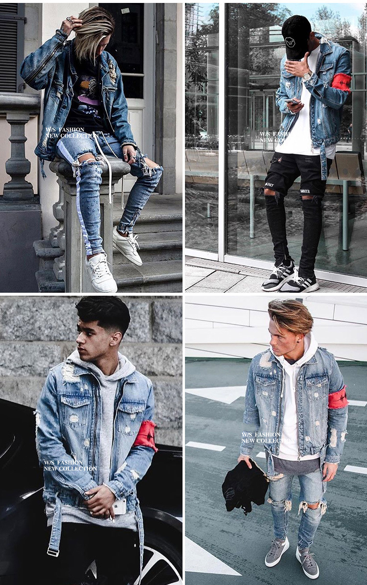 Men's Jean Jackets Streetwear Hip Hop Bomber Jacket  Denim Jacket Men Brand  Ripped Denim Jackets Casual Fashion Coat
