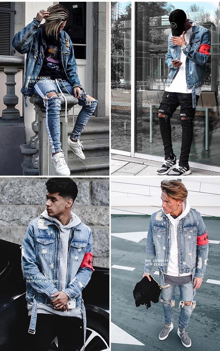 Men's Jean Jackets Streetwear Hip Hop Bomber Jacket Denim Jacket Men Brand Ripped Denim Jackets Casual Fashion Coat