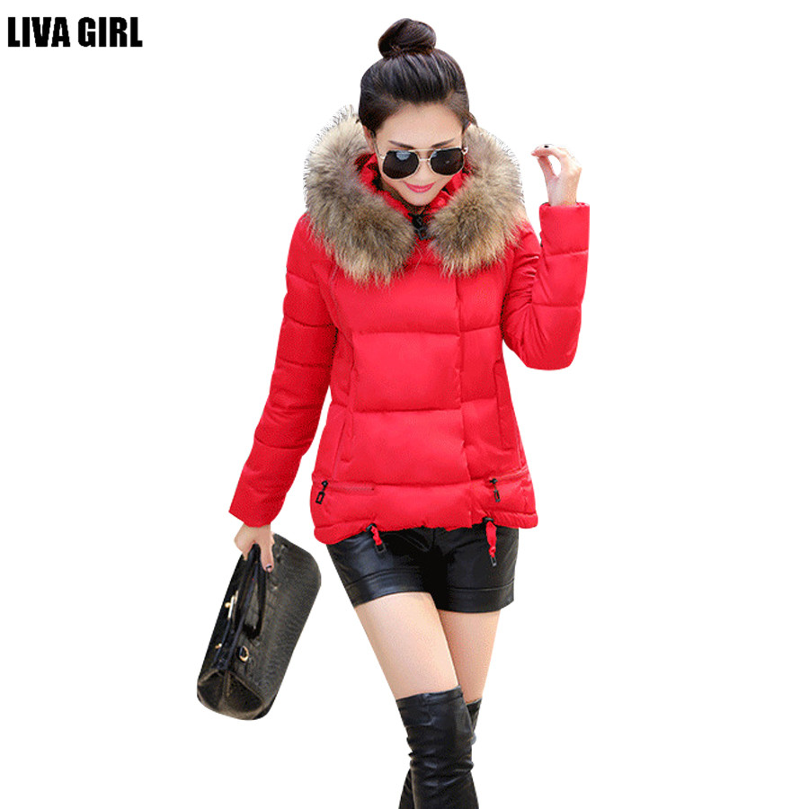ФОТО 2016 new winter women jacket A-line cotton padded coat fur collar thicken outwear women hooded wadded coat