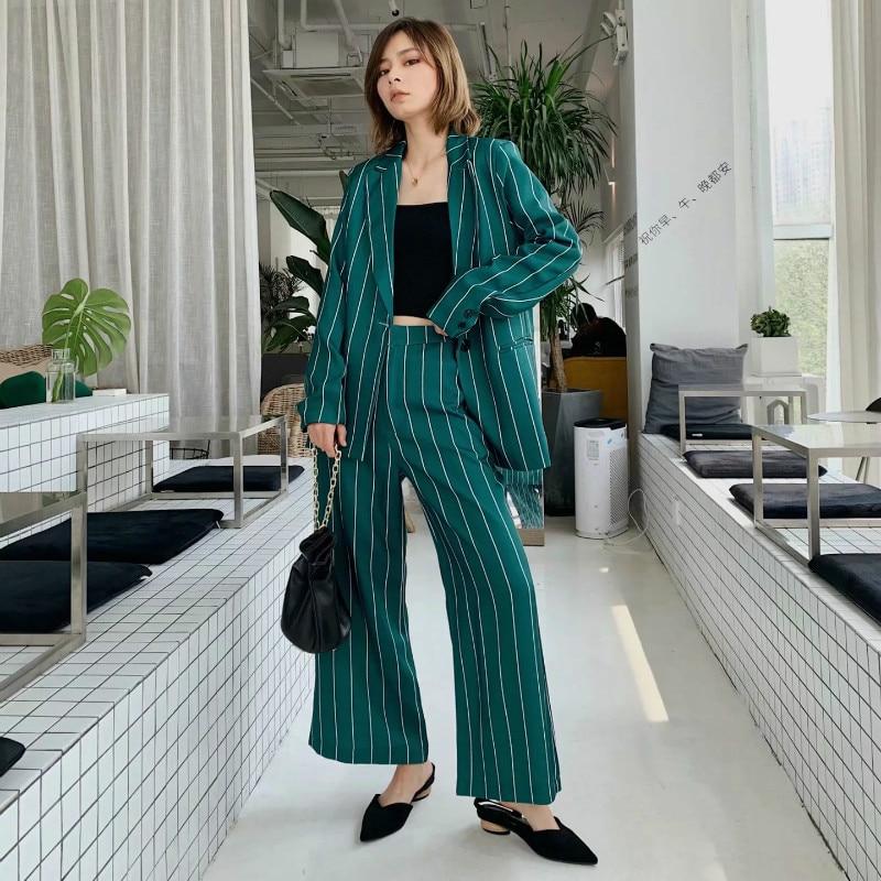 Suit suit female 2019 autumn new popular women's slim casual striped single button suit jacket loose wide leg pants two-piece