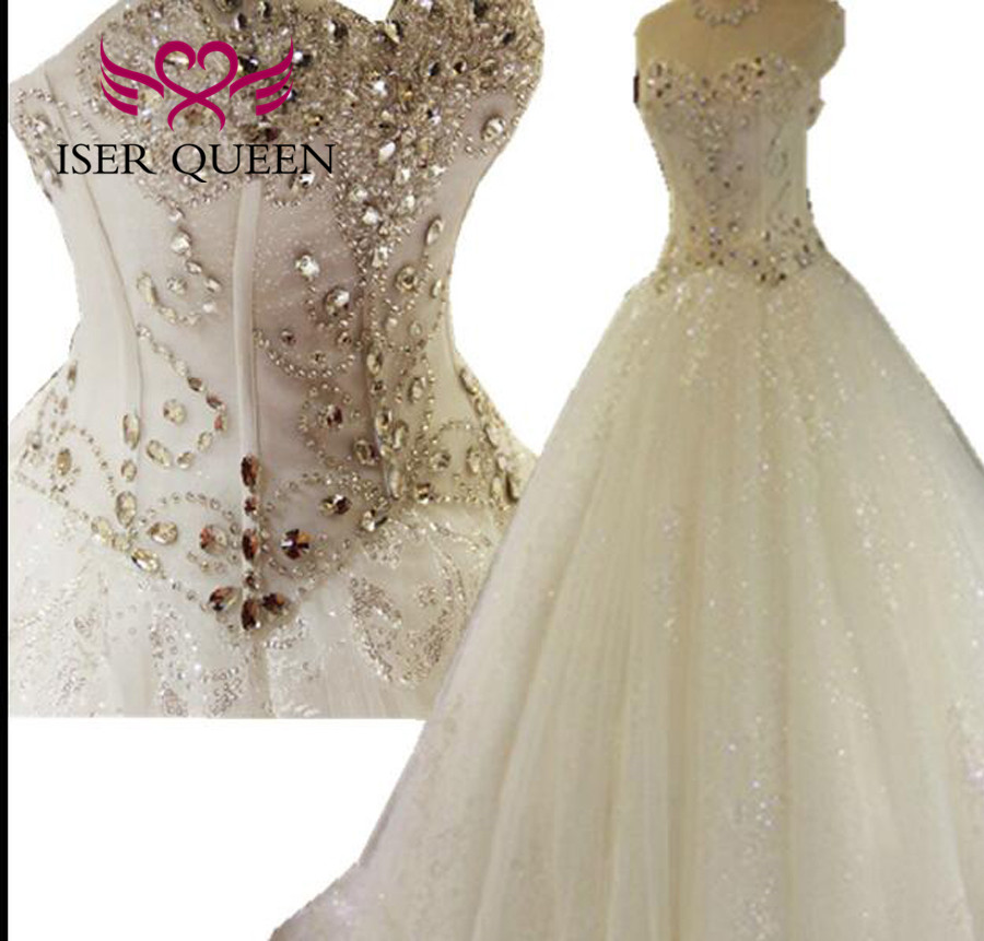 Luxury Crstal Wedding Dress 2019 New Plus Size Bright Lace Tulle Wedding Gowns China Arab Mariage White Bride Dress WX0135