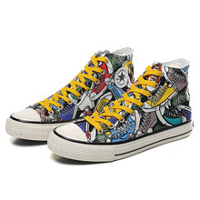 Men High Top Sneakers Cloth Shoes Canvas Graffiti Print Fashion Footwear Skateboard Casual Shoes