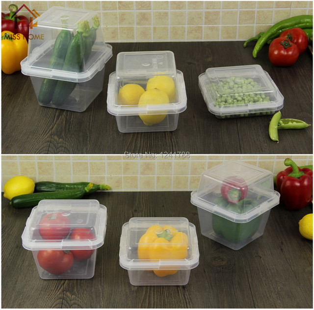 14 pcsset Plastic Boxes Kitchen Tools Food Storage Boxes Lock And