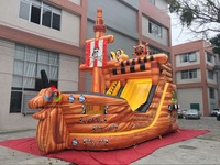 9X5X8M Giant Outdoor Pirate Ship Inflatable Slide For Adult Kids In Stock With Cheap Price