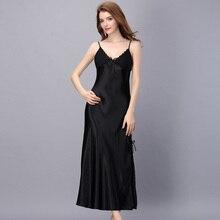1947 Summer Slipt Sexy Nightwear Women Long Satin Nightgown Lace Patchwork Adjustable Strap Sexy Sleeping Dress