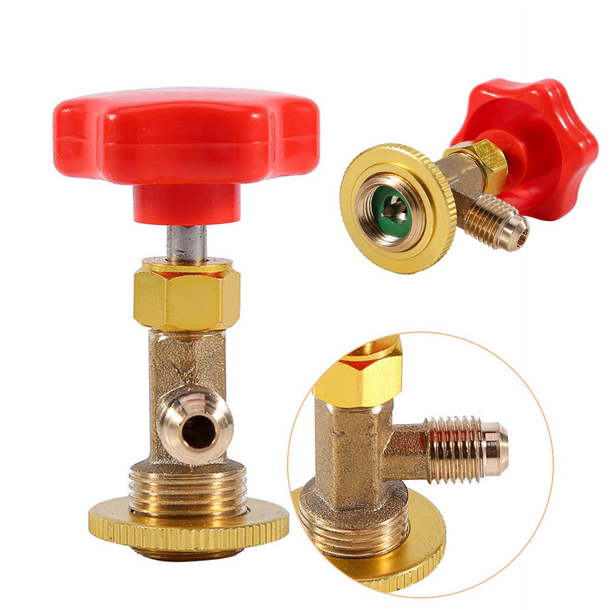M14/1/4 SAE Valve Bottle Opener Mayitr Car Styling Auto R134a Air Conditioning Refrigerant AC Bottle Can Tap Tool With Red Cap hs 1221 hs 1222 r410a refrigeration charging adapter refrigerant retention control valve air conditioning charging valve