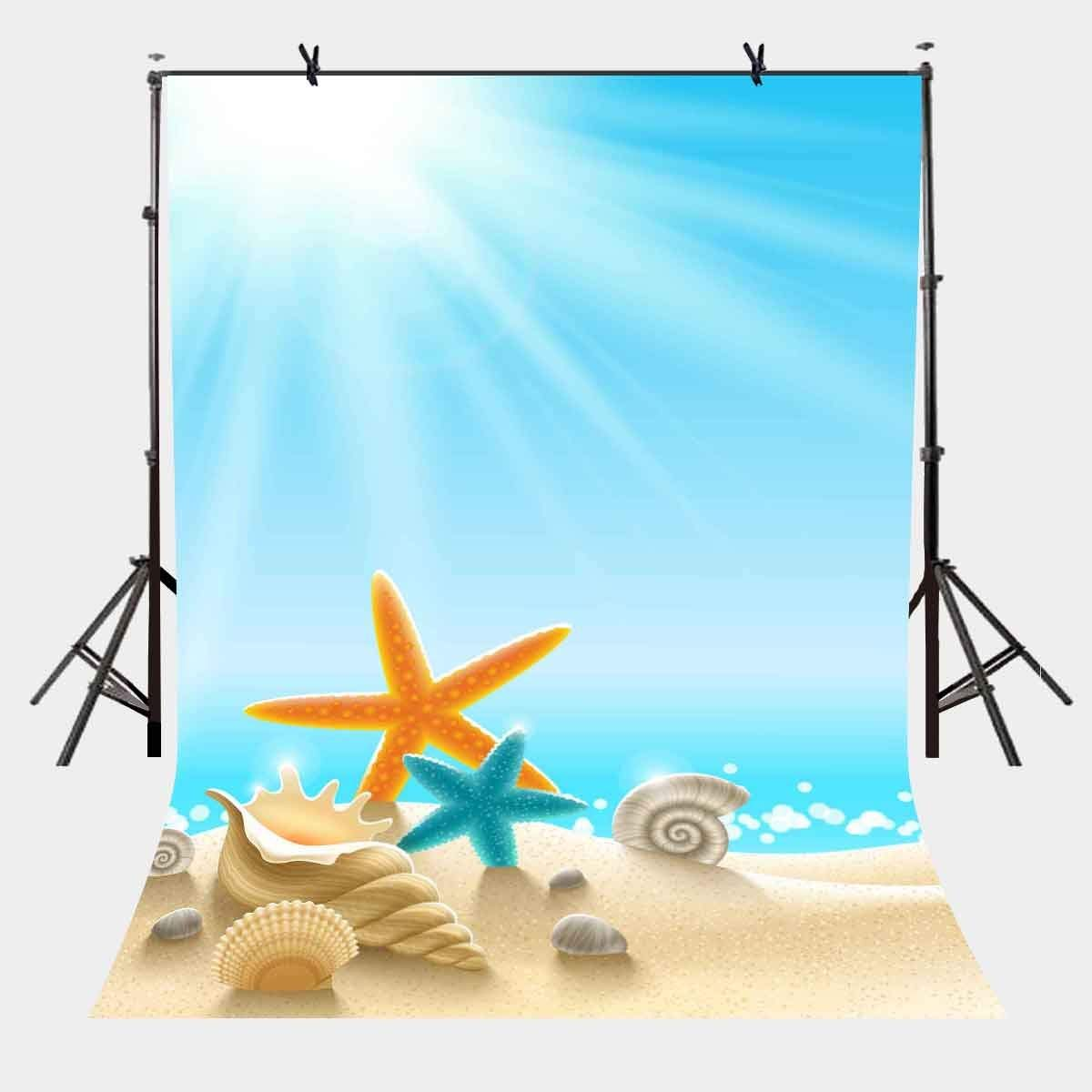 5x7ft Ocean World Backdrop Conch Starfish Blue Photography Background and Studio Props
