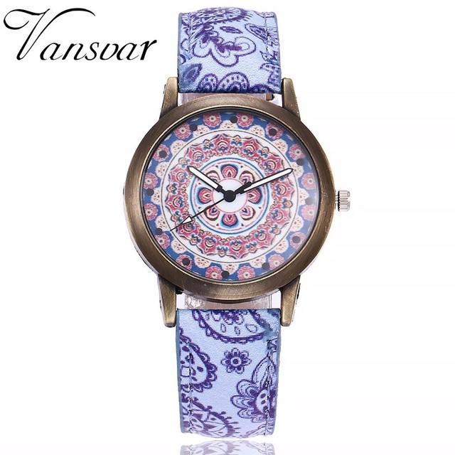 Dropshipping Women Creative Flower Watches Ladies Fashion Casual Leather Quartz Wristwatches Gift Clock Relogio Feminino Hot