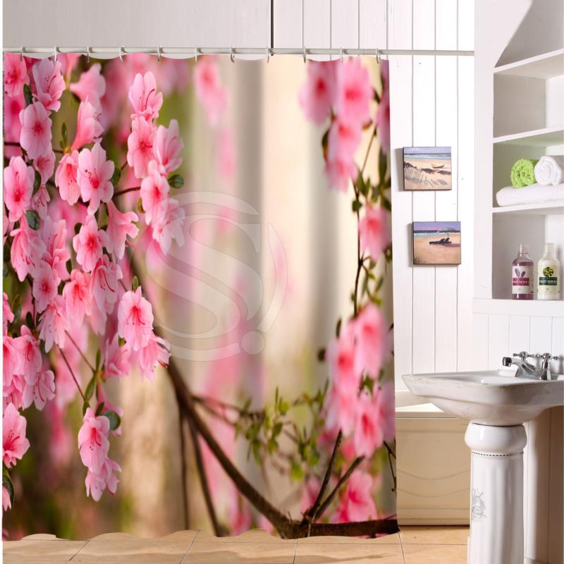 F516XY22 Custom Nature Of Beautiful And Colorful Flowers Rose Fabric Modern Shower Curtain Bathroom Waterproof LF19