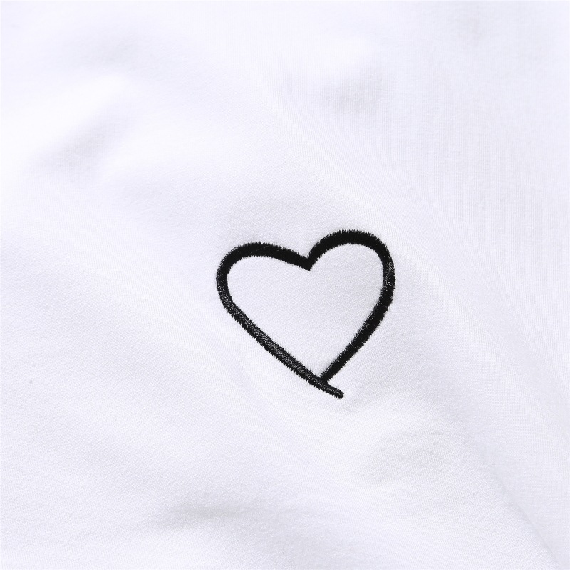 Couples Lovers T-Shirt for Women Love Heart Embroidery Print T-Shirt Female 29