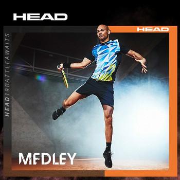 Oryginalna głowica odzież do tenisa jogging sport na świeżym powietrzu trening tenis Quick-dry t shirt z krótkim rękawem odzież do tenisa koszulki tanie i dobre opinie Skręcić w dół kołnierz Poliester Oddychające Pasuje prawda na wymiar weź swój normalny rozmiar HEAD
