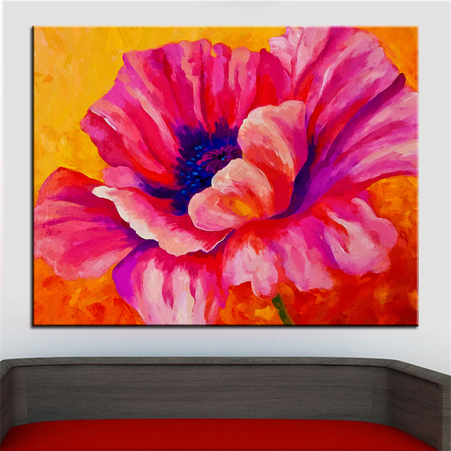 Large size Printing Oil Painting pink poppy Wall painting Steampunk ...