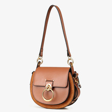 Hot Sale Female Handbags High Quality Genuine Leather Women Shoulder Bag Metal Ring Designer Ladies Small Crossbody Bag 2018