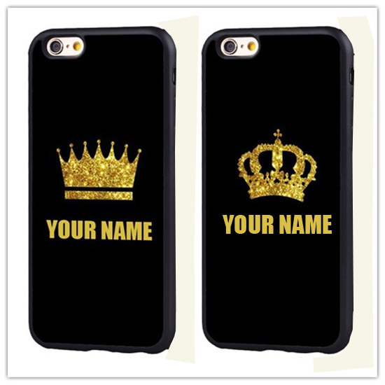 on sale 6c227 52761 US $4.99 |Personalized Custom Name Gold King Queen soft edge hard back  Printed case cover For iPhone 7 7PLUS-in Fitted Cases from Cellphones & ...