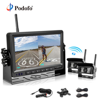 Podofo 18 светодиодный заднего вида Беспроводной комплект камеры с резервированием данных + 7 TFT Автоматический монитор ЖКД 12 V 24 V для грузовик В