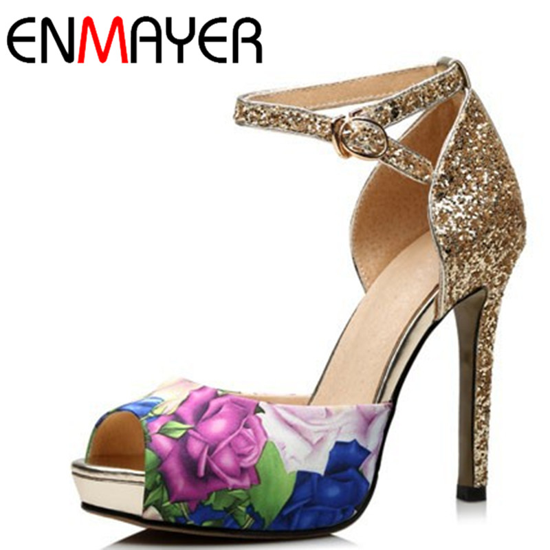 ФОТО ENMAYER New Summer Women Sandals Solid Fashion Gladiator Sandals Women Casual Rhinestone Mixed Colors Wedge Sandals
