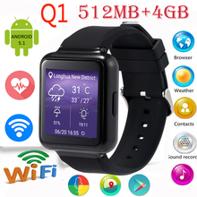 Lemado Q1 Montre Smart Watch MTK6580 512 MB + 4 GB 1.54 « affichage Android 5.1 WiFi GPS 3G Bluetooth Smartwatch Soutien NANO Carte Sim Téléphone