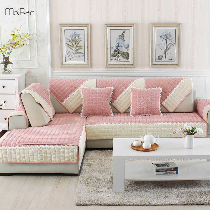 Plaid Sofa Slipcovers For Couch Velvet Furniture Covers For Sectional Sofa Slip Resistant Thick Sofa Cover Towel For Living Room
