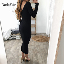 Nadafair autumn winter knitted midi dress women sexy v neck long sleeve pencil bodycon dresses casual elastic slim long dresses