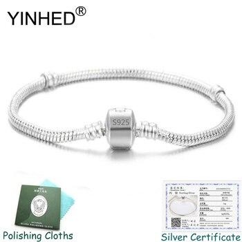 Отправьте Серебряный сертификат! YINHED, 100%, 925, серебряный браслет, браслет, модный, сделай сам, ювелирное изделие, змеиная цепочка, очарователь...