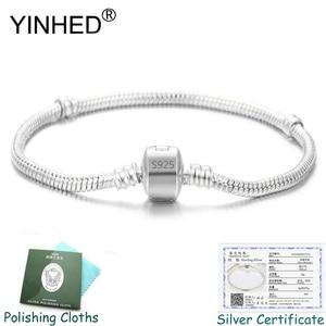 Send Silver Certificate! YINHED 100% 925 Silver Bracelet Bangle Fashion DIY Jewelry Snake Chain Charm Bracelet Women Gift ZB030(China)