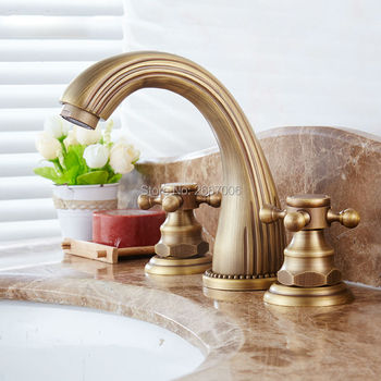 Free shipping New Coming Gift Three Holes Bathtub Basin Faucet Deck Mount Antique Bronze Finish Hot Cold Mixer Water Tap GI134