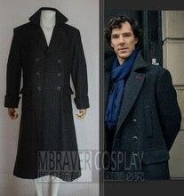 Шерлок Холмс Для мужчин зима длинный плащ пальто-накидка для Для мужчин фильм ТВ шоу Хэллоуин Косплэй костюм шерсть версия