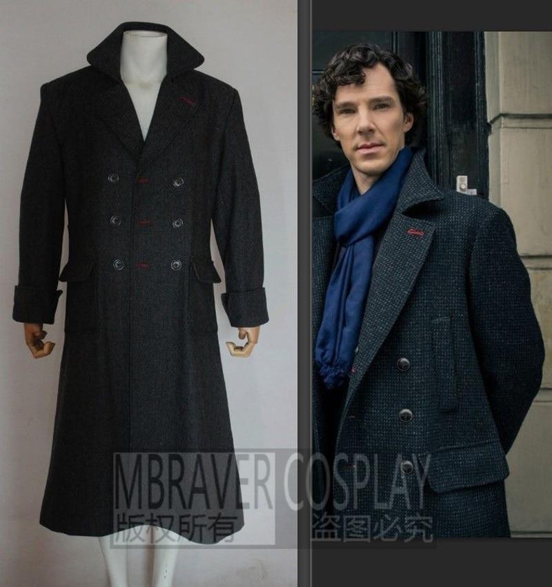 Sherlock Holmes Men Winter Long Trench Cape Coat For Men Movie TV Show Halloween Cosplay Costume Wool Version