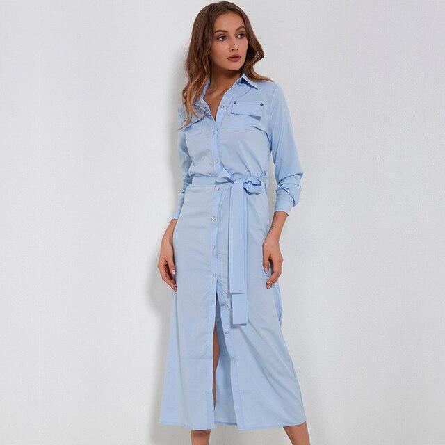 bbb13474c5e H 2018 осеннее длинное платье Ультрамодная рубашка платье социальное  офисное платье Осень Женская Туника