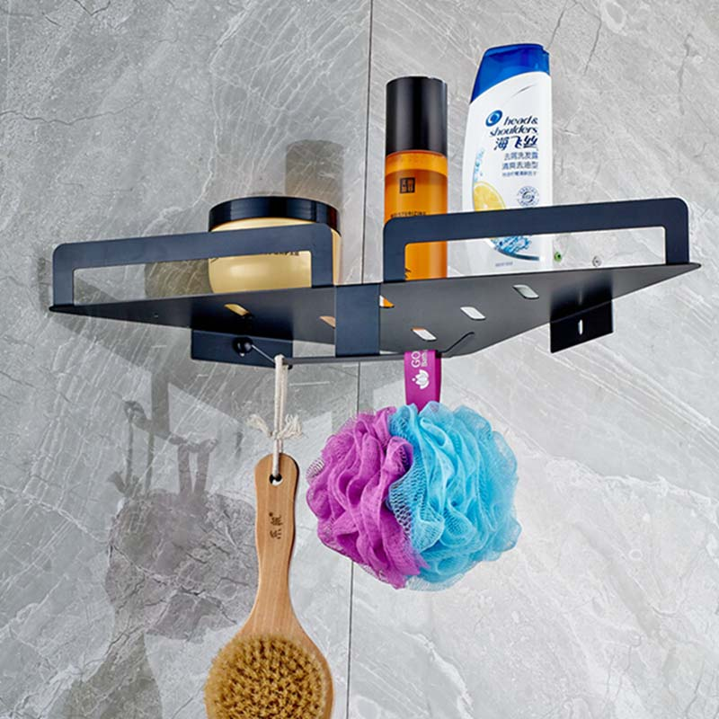 Oil Rubbed Bronze Bathroom Shelf W/ Hangers Wall Mounted Corner Shelf Storage allen roth brinkley handsome oil rubbed bronze metal toothbrush holder