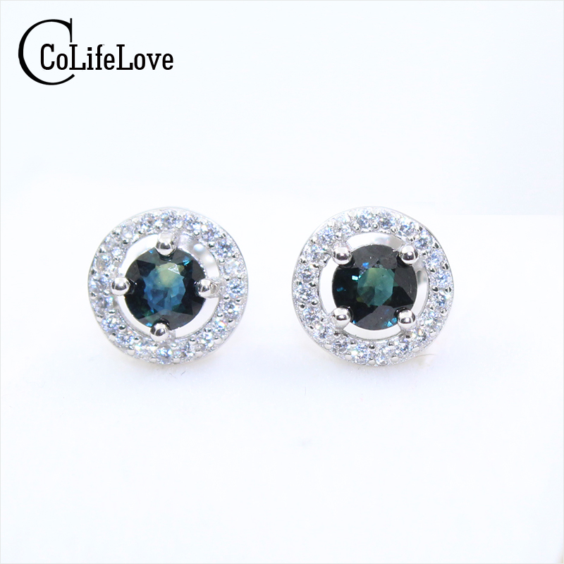 Classic sapphire stud earrings 4mm round brilliant natural dark blue sapphire gemstone earrings solid 925 silver sapphire earrin