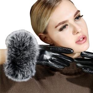 Image 3 - Lady Luxury Fox Fur Sheepskin Gloves Winter Genuine Leather Full Finger Thermal Warm Outdoor Gloves Women Touch Screen Black