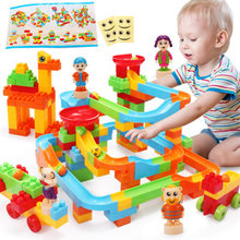 Marble Race Run Maze Balls Track Model Building Blocks Kids Educational Toys Compatible Legoings Duploe DIY Bricks For Kids Gift(China)