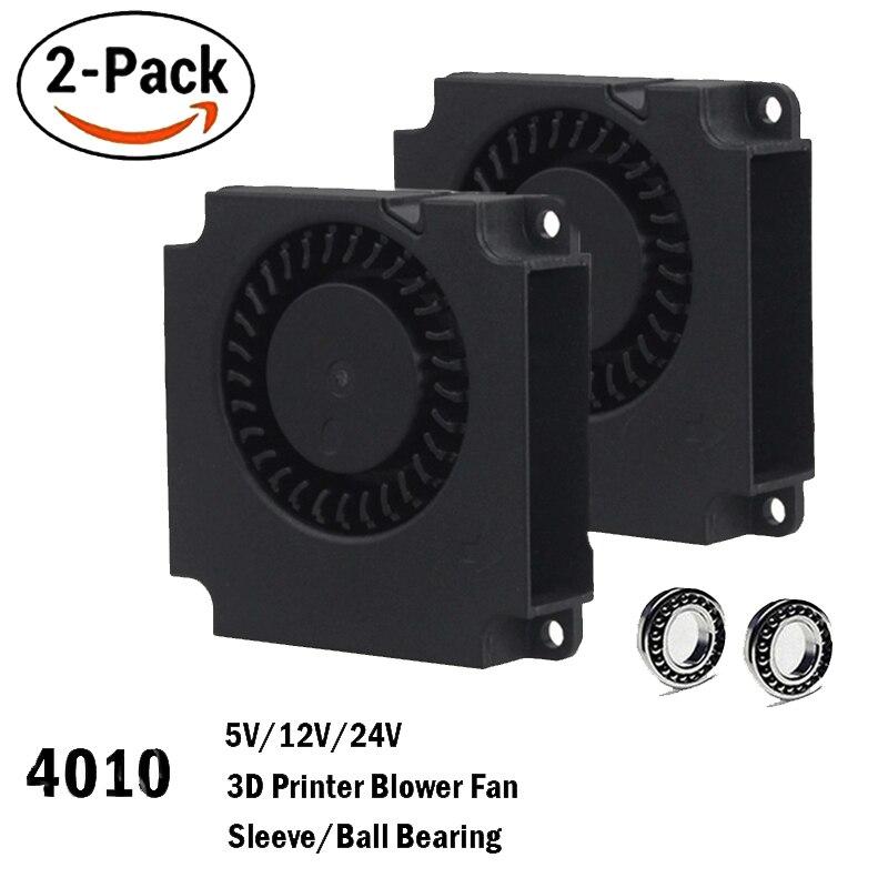 2 pièces Gdstime 40mm 3D Imprimante Ventilateur 12 V 24 V 5 V 4010 Ventilateur Imprimante Accessoires De Refroidissement DC Turbo Ventilateur Ventilateurs Radiaux 40x40x10mm