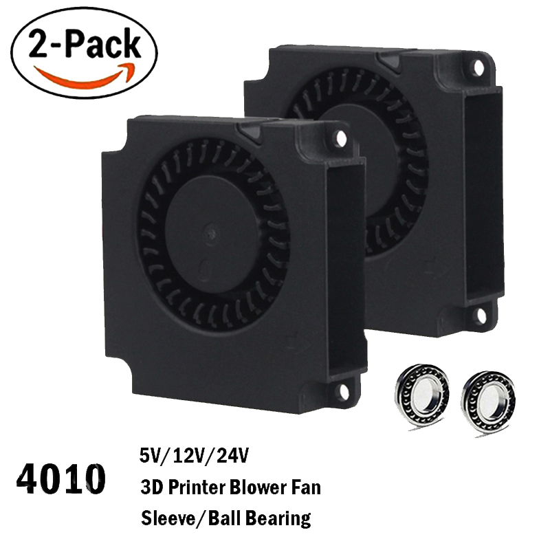 2PCS Gdstime 40mm 3D Printer Fan 12V 24V 5V 4010 Blower Printer Cooling Accessories  DC Turbo Blower Fan Radial Fans 40x40x10mm