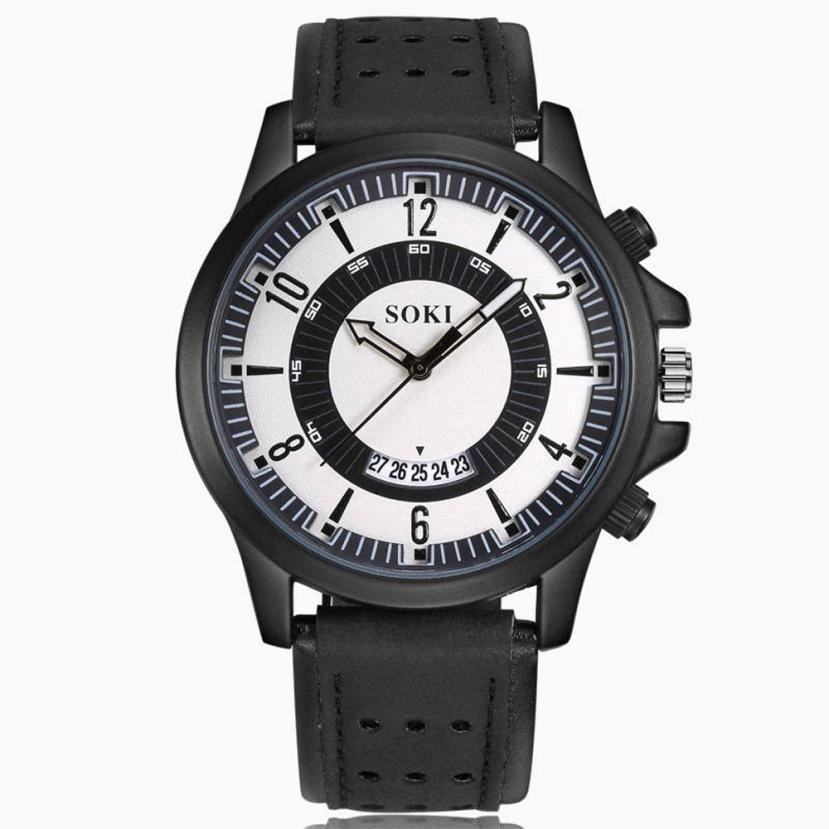 2018 Prawdziwy Top Sprzedaży Luksusowa Moda Żel krzemionkowy Skóra - Męskie zegarki - Zdjęcie 4