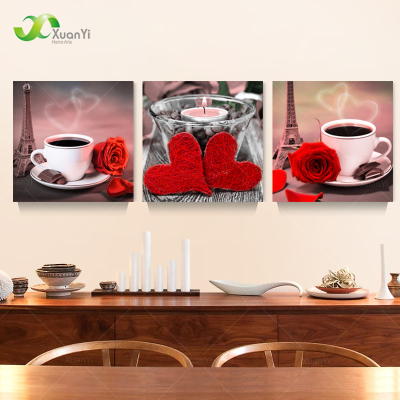 3 Panel Coffee Flower Rose Painting Prints And Poster On