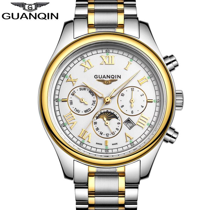Mens Watches Top Brand Luxury GUANQIN Three Dial Work Stainless Steel Life Waterproof Luminous Men's Watches Quartz-Watch Men angela bos sub dial work waterproof luminous mens watches top brand luxury 2016 men s watches quartz watch wrist watches for men