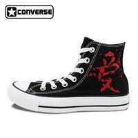 Converse Chuck Taylor Man Woman Shoes Anime Naruto Shippuuden Gaara Love Design Hand Painted Shoes High Top Boys Girls Sneakers