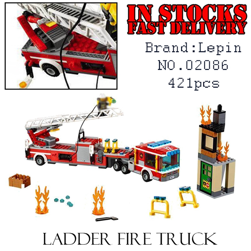 LEPIN City 02086 421pcs Ladder fire truck Building Blocks Bricks enlighten toys for children Birthday gifts brinquedos 60112 lepin city town city square building blocks sets bricks kids model kids toys for children marvel compatible legoe