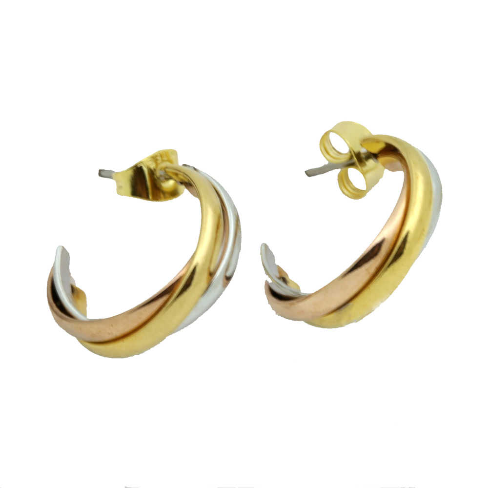 Top Quality Classical 3 Rounds  Rose Yellow White Gold Gold Colour Stud Earrings Fashion Jewelry Lover Earrings Wholesale